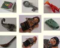 Harry Potter, minifigures, parts, accessories, wands, owl, snake, spider, scorpion, decal bricks, tiles